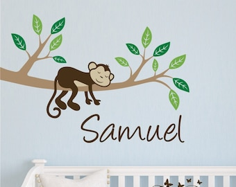 Monkey Sleeping on a  Branch with Personalized Name,  Kids Vinyl Wall Decal Sticker Set, nursery, kids room, removable wall decal set