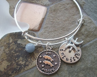 Pisces Adjustable Bangle - Zodiac Jewelry - What's Your Sign - Water Element - Horoscope Bracelet