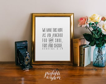 Bible Verse art print, Printable scripture, Christian nursery wall art decor poster Hebrews 6:19, digital typography Printable Wisdom