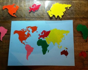 Continent Globe Matching Flat Map, Europe, Asia, North America, South America, Australasia, Africa, Antarctica,  Oceans, Planet Earth