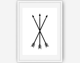 Black and White Rune Protection Arrows Print , Black and White Print, Arrow Wall Art, Printable, Instant Download