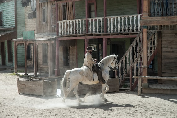 Rustic Western Decor, Cowboy Print, Fine Art Photography, Horse Riding Cowboy, 5x7 8x10, Cabin Wall Art, White, Cream, Brown, Green, Red