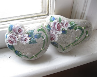 Large Painted Stone Hearts, Painted Roses, Two Hand Painted Paper Weights, Door Stops, Beach Stones, Painted Rocks, by gardenstones on etsy