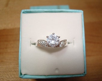 Diamond Cut White Sapphire 925 Sterling Silver Engagement Ring Sizes 6 And 8