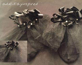 Preemie Black satin fancy socks