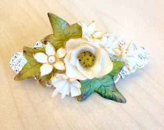 Ivory and green hair clip with cold porcelain flowers and leaves