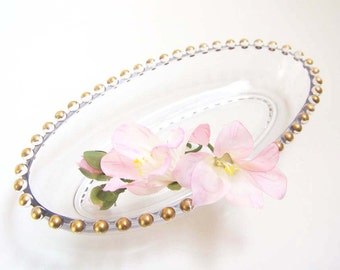 Candlewick Relish Dish . Clear with Gold Edges