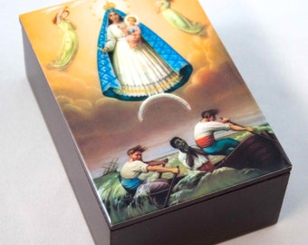 Virgen Caridad del Cobre, Virgin Our Lady of Charity, Wooden Box. Prayer beads box. Communion Memories.Christening Memories. Communion Gift.