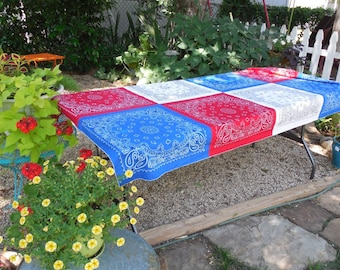 READY TO SHIP, Patriotic Bandana Tablecloth, 4th of July, Memorial Day, Picnic Table