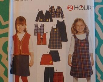 Simplicity 9854, Girl's Pants, Skirt, Jumper, Jacket, Vest Pattern, Size 2, 3, 4, 5, 6, 6x