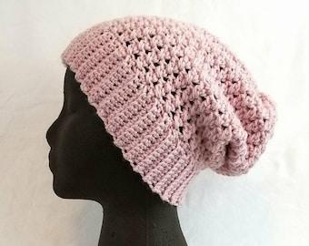 Slouchy Hat, pink wool beanie, crochet hat