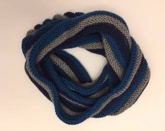 Gray/Blue Infinity Scarf