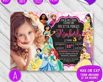 Disney princess birthday invitation, Disney princess invitation with photo, Princess invitation, Disney princess invite, Princess party card