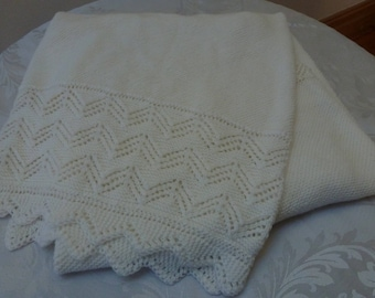 Hand Knitted Luxury 100% Pure Australian Wool Heirloom Lace Baby Shawl