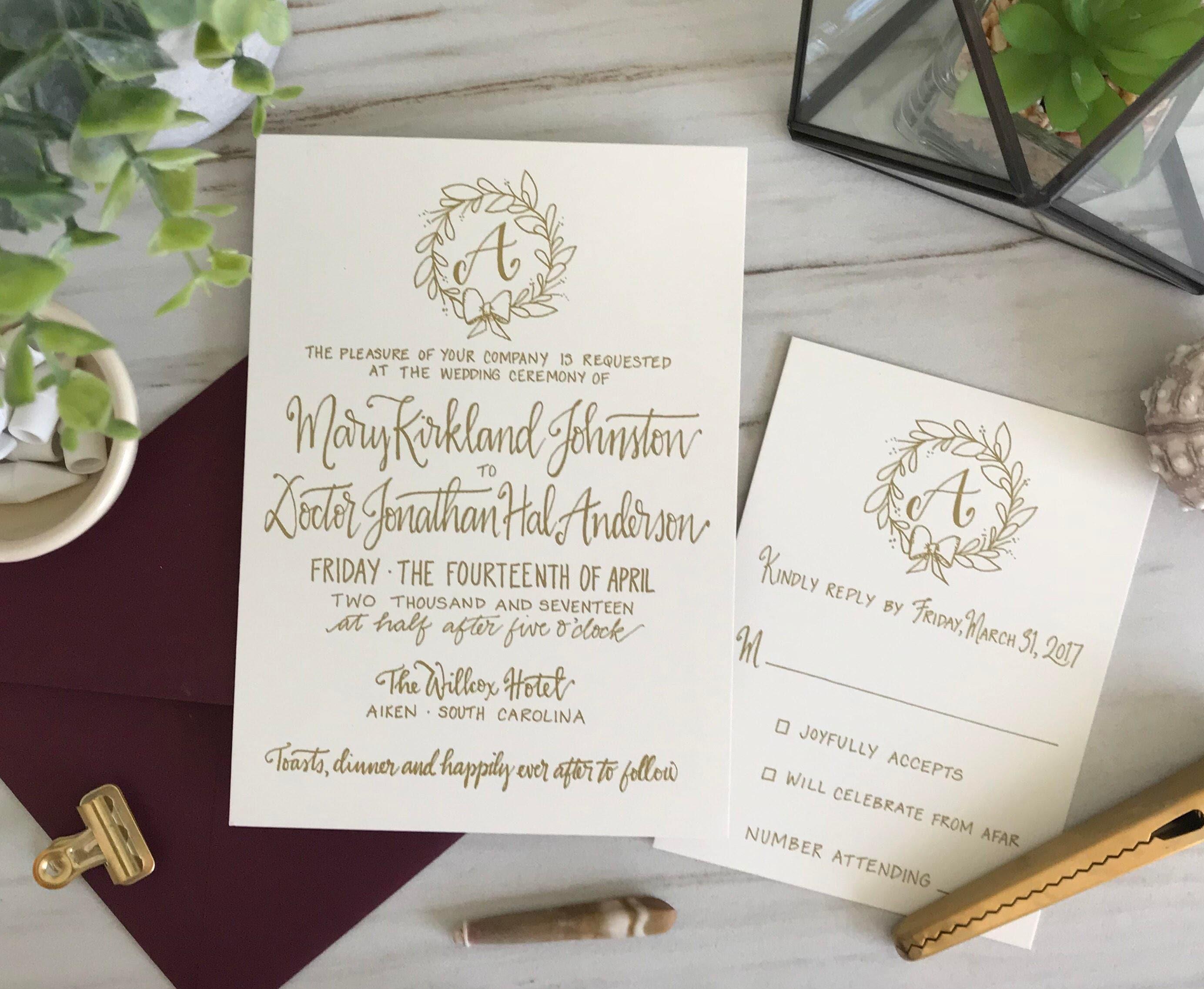 Gold Wreath Wedding Invitation . Gold Wreath Wedding Invite .