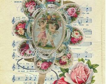 Large digital download Vintage sheet music Victorian Cheri blue pink roses BUY 3 get one FREE
