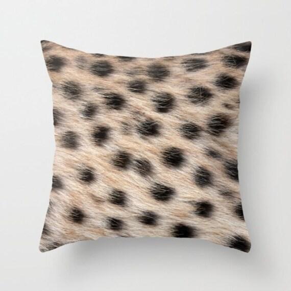 Cheetah Animal Print Throw Pillow, Coffee Brown Pillow, Decorative Pillow, Nature Cushion, Dots, Office, Safari, Contemporary, Modern, Dorm