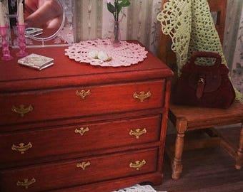 Miniature silk chrochet doily with hand chrochet roses