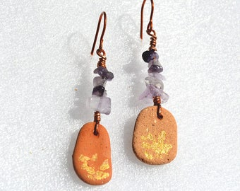 Copper Earrings Long Purple Chip Bead Earrings Brown Hand Painted Beach Pottery Earrings Israeli Ancient Ceramic Free Shipping from Israel
