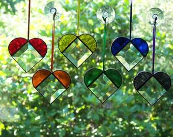 Stained Glass Rainbow Bevel Hearts set of six