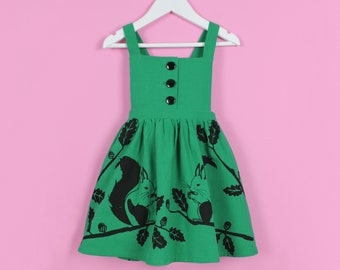 Girls Squirrel Dress - Handmade and Hand Screen Printed