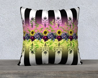 Black and White Stripe with Vintage Sunflowers & Roses  Pillow Cover