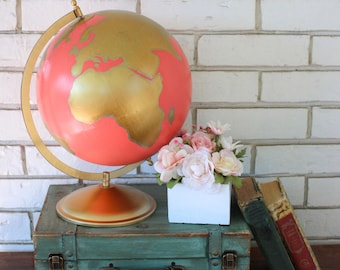 Hand painted 12 inch Globe in Gold and Coral