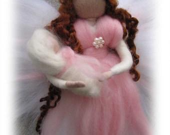 Miriam - Needle Felted Wool angel, Waldorf inspired fairy doll, wool, guardian angel