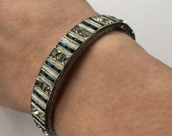 Antique Art Deco bracelet.  Allco.  Flapper style rhinestone and navy stone square latching bangle bracelet. Fits a small wrist.  Exquisite!