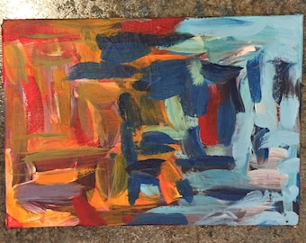 Abstract Expressionistic Acrylic Painting on Canvas Panel 5x7 inches