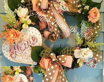 Floral, feminine, elegant Mother's Day Graprevine wreath