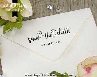 save the date rubber stamp with calligraphy writing, save the date script envelope stamp, wedding date stamp