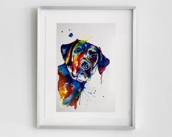 Colorful Black Lab Labrador Retriever Art Print - Print of my Original Watercolor Painting (FREE shipping)