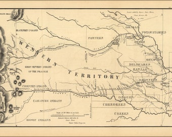 Poster, Many Sizes Available; Map Of Central Great Plains, Santa Fe Trail, 1835