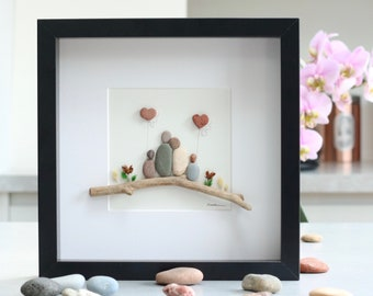 Pebble art family of four, unique family gift, fathers day gift, birthday, family gift, pebble art family 4.