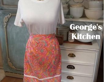 Apron Pink Paisley Turquoise Women's Half Cotton Skirt Kitchen Baking Apron Ladies Serving Uniform Multi Coloured Vintage READ ITEM DETAILS