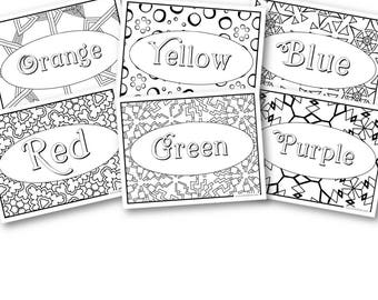 Rainbow Coloring Pages, Screen Free Activities, Preschool and Kindergarten Games, Rainbow Printable, Colors of the Rainbow, Adult Coloring