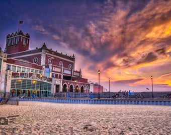Cloudy Sunset Over the Convention Hall in Asbury Park - Photography Print, Pictures, Wall Art