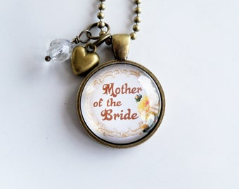 Mother Of The Bride Necklace - Wedding Party Jewelry - Gift For Mother Of The Bride - Wedding Necklace - Yellow Rose Flower Bouquet Jewelry
