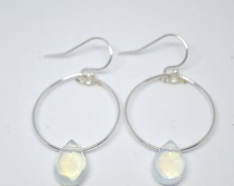 MOONSTONE Sterling Silver Small 'Hoop Drop' Earrings