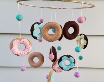Donut Baby Mobile, Donut Nursery Decor, Sweet Nursery Decor, Playroom decor