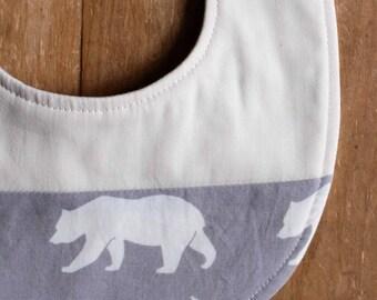 Gray Bear Bib; Modern Teething Bib; Woodland Baby Bib; Organic Cotton Drool Bib; Unique Baby Shower Gift, Nursing Moms; Bear Hike Pewter