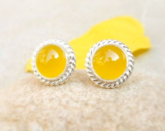 Yellow Chalcedony Stud, sterling silver studs, Gemstone stud, bezel set stud earring, Yellow Stud, Artisan Jewelry, Chalcedony Jewelry