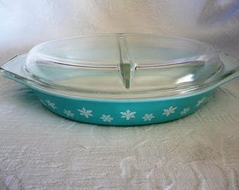 Pyrex Turquoise Snowflake Casserole Dish Vintage Ovenware