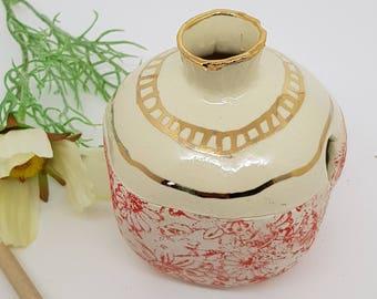 Ceramic honey pot, ceramic honey dipper, ceramic pomegranate, Rosh Hashanah, ceramic hone  jar, GOLD  Red and white pomegranate, 1002