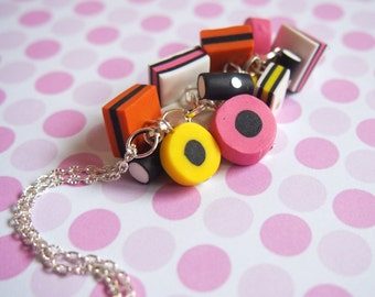 Liquorice Allsorts Necklace ( licorice allsorts food pendant polymer clay food miniature candy necklace cute necklace candy pendant )