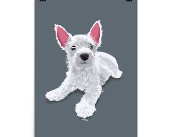 Puppy Love Poster - Grey