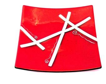 """Red Ribbons 5"""" Square Santa Dish 7015"""