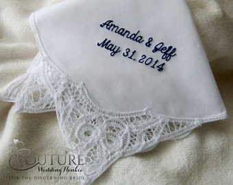 Personalized with Your Own Saying Wedding Hanky Hankie | Custom Word Embroidered Wedding Handkerchief H9030