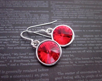 Light Siam Crystal Earrings -- Red Swarovski Drops -- Silver & Red Crystal Earrings -- Bright Red Earrings -- Red Crystal Dangles -Red Drops